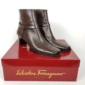 Salvatore Ferragamo Boots Espresso Nappa Calf Sz 8